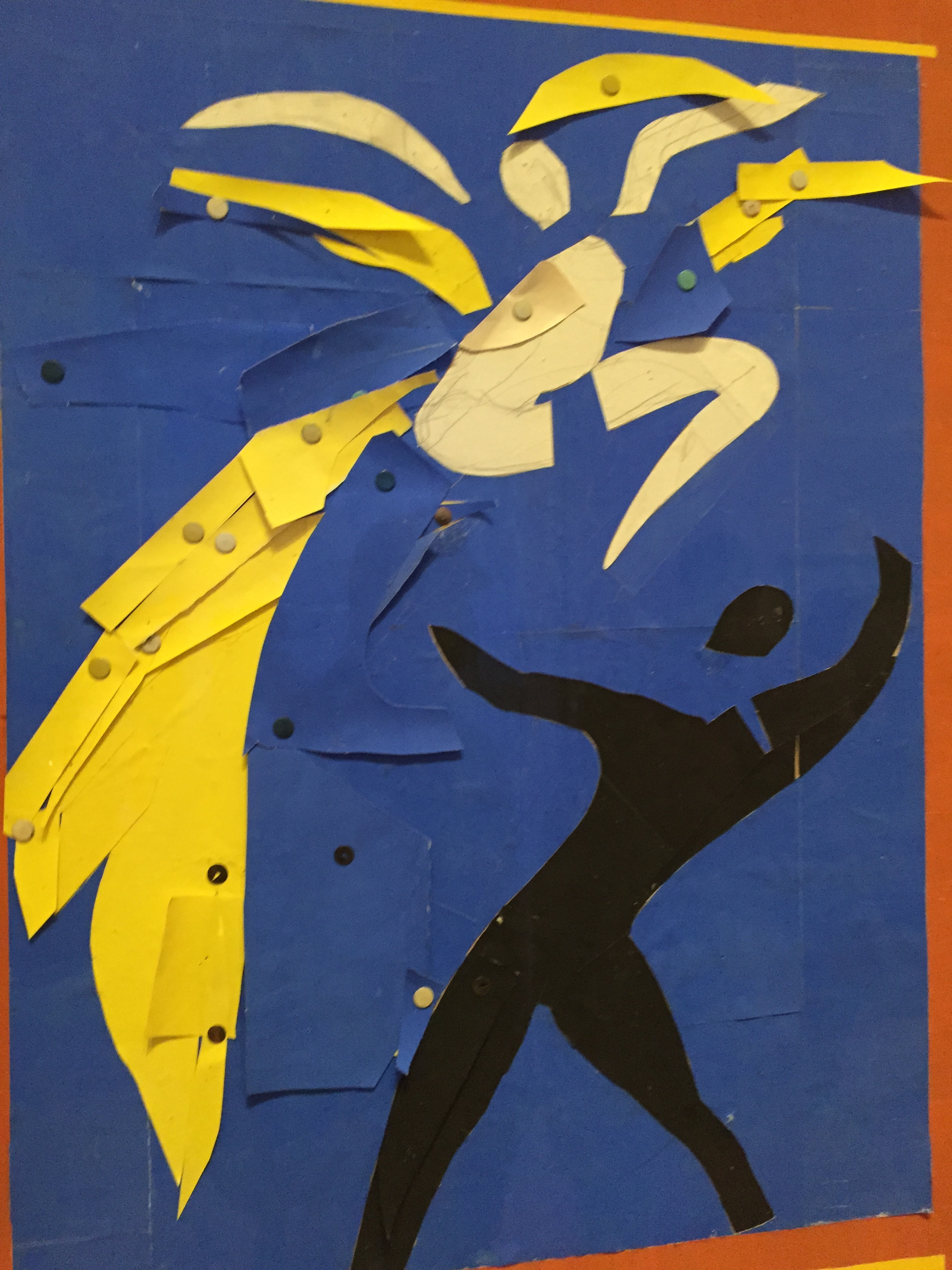 Henri Matisse Two Dancers (Deux Danseurs)  1937-38 Stage curtain design for Rouge et Noir Gouache on paper, cut and pasted, notebook papers, pencil, and thumbtacks (partial image)