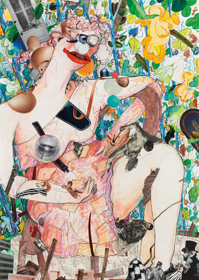 Gladys Nilsson A Girl in the Arbor #1, 2013 Mixed media on paper 41 1/2 x 29 3/4 inches