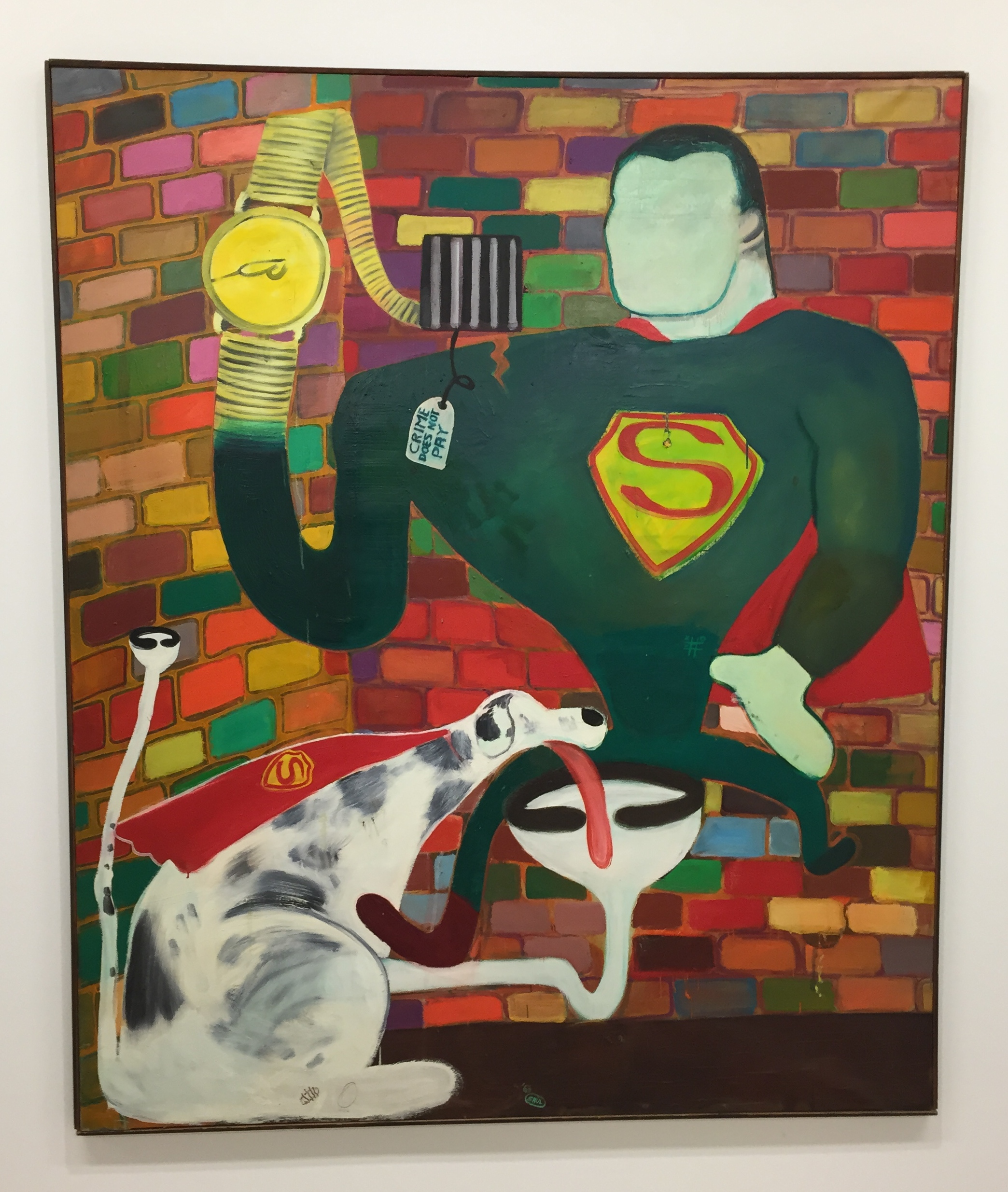 Peter Saul Superman and Superdog in Jail, 1963 Oil on Canvas 75 x 63 inches